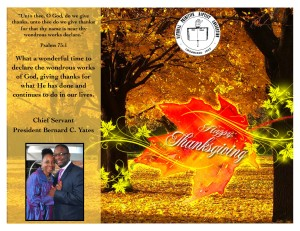 Thanksgiving Greeting From President Bernard C. Yates, Chief Servant