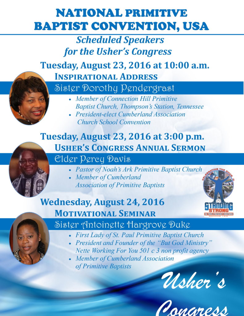 National Ushers Congress 109th Annual Session Speakers