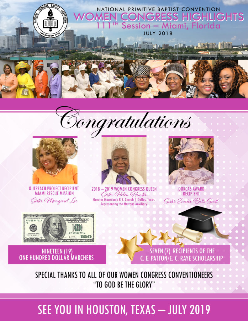 Women Congress Highlights at the 111th Annual Session of the National Primitive Baptist Convention, USA in Miami, FL on July 15-20, 2018